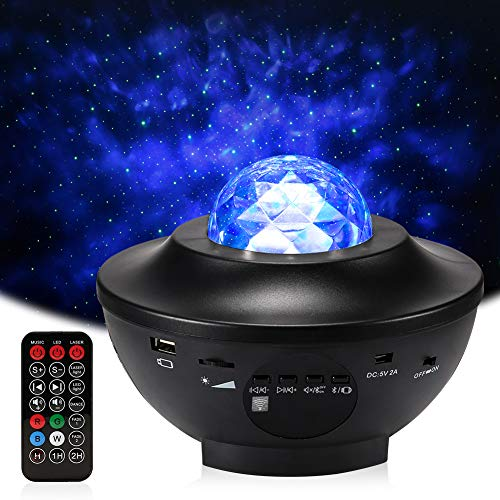 Delicacy Sky Laser Star Projector Ocean Wave Night Light Projector with Bluetooth Speaker Rotating...