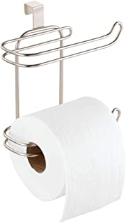 mDesign Toilet Paper Roll Holder for Bathroom Storage, Over the Tank - Satin