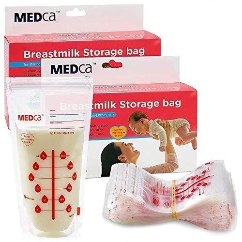 MEDca Sacchi per la conservazione del latte materno, 200 ml, BPA Free 6oz / 180ml - Accessori per l\'allattamento al seno per neonati ed elementi essenziali