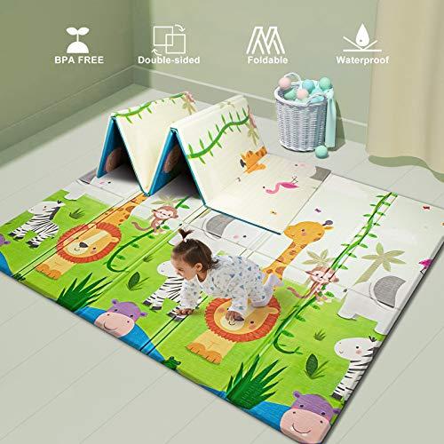 playmats UANLAUO Baby Play mat, playmat,Baby mat Folding Extra Large Thick Foam Crawling playmats Reversible Waterproof Portable playmat for Babies