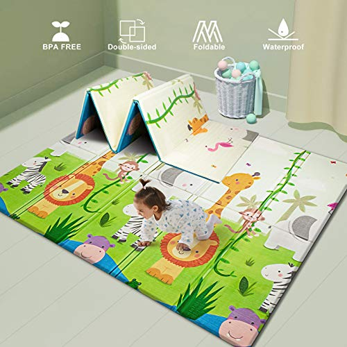 UANLAUO Baby Play mat playmatBaby mat Folding Extra Large Thick Foam Crawling playmats Reversible Waterproof Portable playmat for Babies