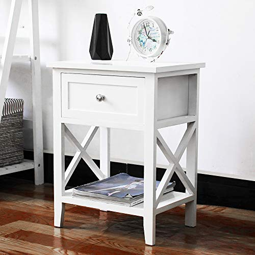 EXQUI Bedside Table with Shelf and Drawer White NightStand for Bedroom Wooden Cabinet Side Table Storage Unit Small Console Table for Living Room, 40x30x52cm, G971W
