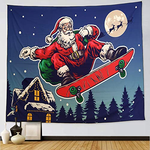 Christmas Tapestry Hippie Santa Claus Tapestry Xmas Gift Reindeer Moon Night Tapestry Wall Hanging for Room Home Christmas Decorations(Santa, 51.2' X 59.1'-(130x150cm))