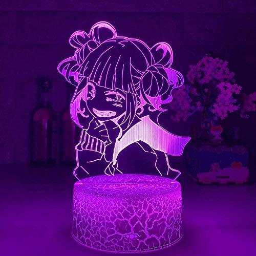 GEZHF 3D Illusion Kids Night Light para dormitorio My Hero Academia Himiko Toga Boku no Hero Academia Cross My Body para dormitorio Lámparas táctiles para niños 7 colores