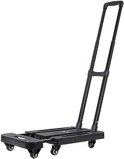 Carretilla telescópica de Cuatro Ruedas Carrito de Compras portátil Plegable para el hogar Carrito Plano (Color : Black)