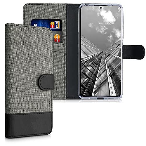 kwmobile Wallet Hülle kompatibel mit Xiaomi Redmi Note 10 Pro - Hülle mit Ständer - Handyhülle Kartenfächer Grau Schwarz