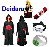Sunkee Naruto Cosplay Akatsuki Ninja Deidara Traje--Capa con Capucha (Tamaño S: 150cm-158cm) + Caja de Lápiz+ Deidara Diadema+ Anillo