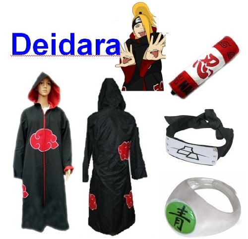 Sunkee Japanische Anime Naruto Cosplay Deidara Set -- Akatsuki Kapuzenumhang Mantel Umhang Größe M + Federmäppchen + Stirnband+ Deidara Ringe