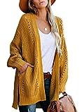 GRAPENT Women's Arrowwood Yellow Open Front Knit Oversize Casual Sweater Cardigan Loose Side Slit Outwear Coat with Pockets Medium