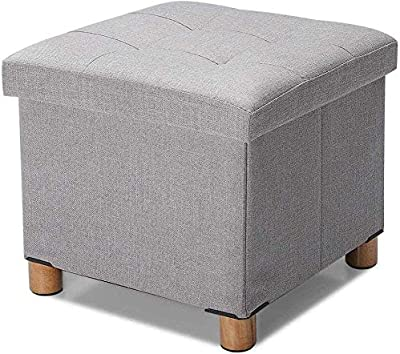 Ottoman Stool Ottomans Foot Stool with Storage, Folding Cube Footrest Stool, Foldable Storage Boxes, Footstool Stool Seat with Wooden Feet and Linen Lid