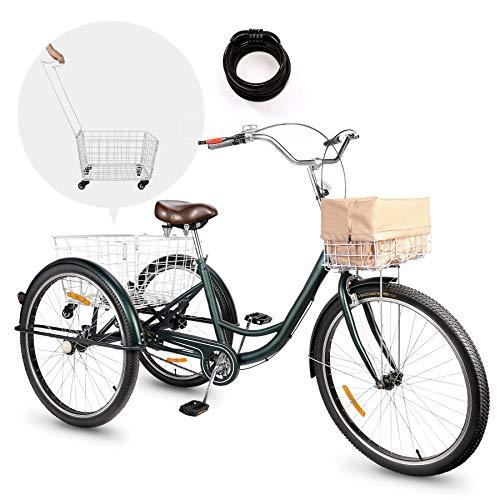 Viribus Triciclo para Adultos 26'' con Cesta Extraíble Bicicleta de 3 Ruedas...