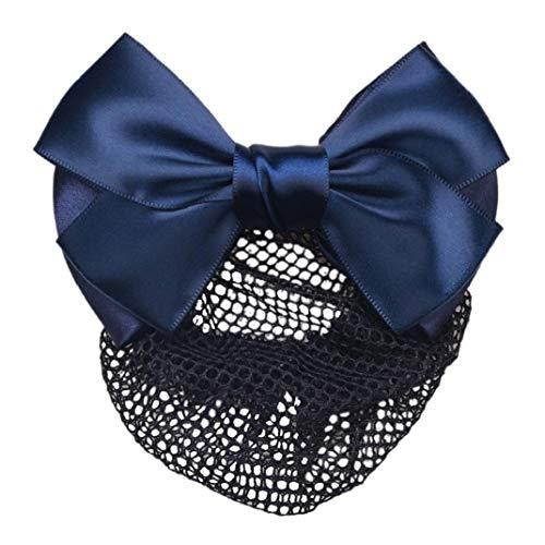 Clips Bowknot Cheveux Avec Hairnet Snood Net Bun Couverture Bow Barrette à Cheveux Pince à Cheveux (Bleu)