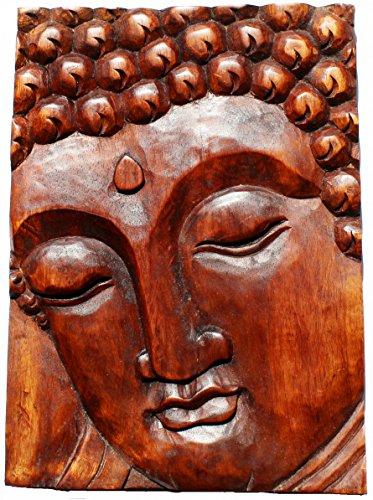 Budawi® - Wandrelief/Holzbild Buddha Gesicht aus Holz rot/braun 40 x 30 cm, Buddhamotiv als Holzrelief