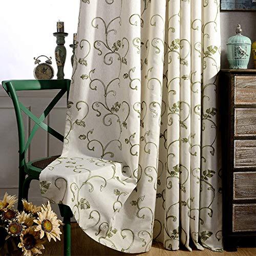adaada 2er-Set Vintage RebeStickerei Vorhänge Einfachen Stil Elegante Vorhänge Für Schlafzimmer Wohnzimmer (Grün,245x140cm)