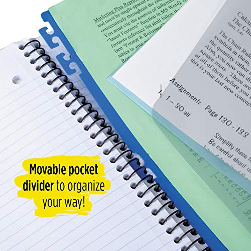 Five Star Advance Spiral Notebook, 5 Subject, College Ruled Paper, 200 Sheets, 11 x 8-1/2 inches, Green (73148) Photo #8