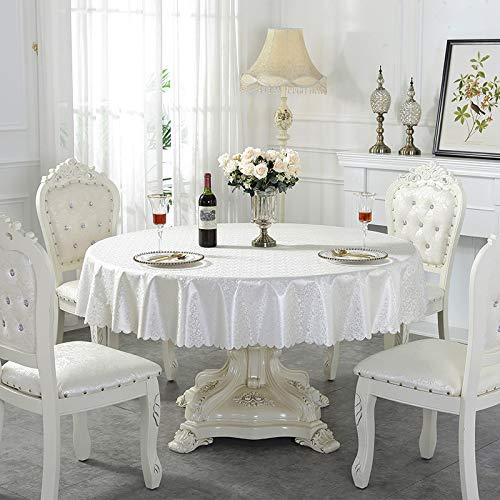YCZZ Große runde Tischdecken Einfaches Wasser- und öldichtes Bedrucken von runden Tischdecken Runde Tischdecke 160cm-Spleißen Perlglanz weiße Farbe Tischdecke