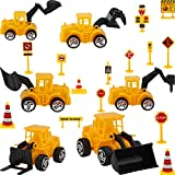 Hsei Construction Vehicle Theme Cake Decorations, Include 6 Pieces Construction Truck Cupcake Toppers and 14 Pieces Road Toy Sign Cupcake Toppers for Birthday Party Supplies Favors