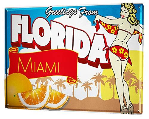 Placa de metal para decoración de pared, diseño de la ciudad de Florida Greetings Palms Girl