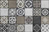 Cuadros Lifestyle - Paraspruzzi per cucina, motivo piastrelle, in alluminio Dibond, protezione per piastrelle per fornelli e lavelli, 60 x 40 x 0,3 cm