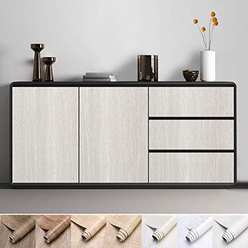 KINLO Pellicola da cucina addensata legno naturale Rivestimento per mobili autoadesivo 40 x 300 cm Pellicola decorativa aspetto legno, protezione superficiale impermeabile antimuffa, per mobili
