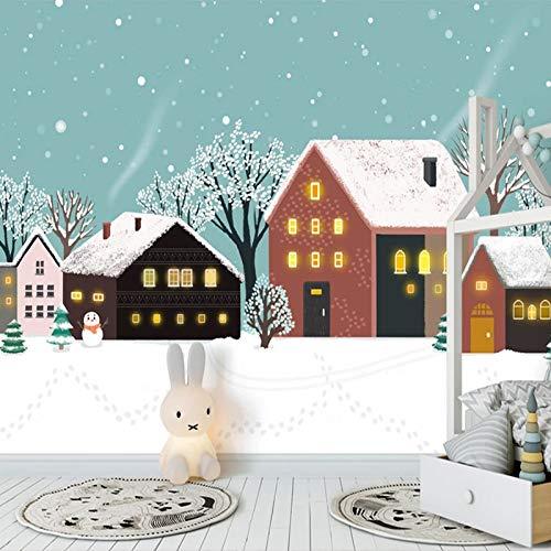 DZBHSCL 4D behang wandschilderingen, Nordic Cartoon sneeuw huis hout Hd kunstdruk grootte wandschilderij fotobehang voor kinderkamer kinderkamer kleuterschool achtergrond muur decoratie 80in×120in 200cm(H)×300cm(W)