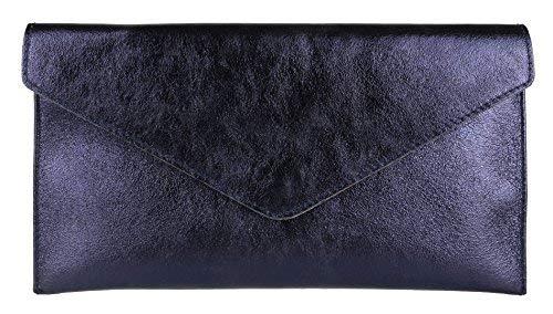 Girly Handbags Italiano cuero auténtico metálico embrague - azul marino
