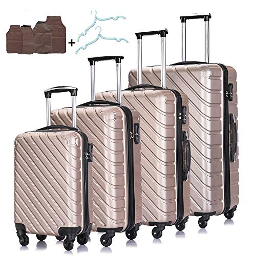 Apelila 4PC Luggage Sets -Carry On Luggage Hardshell Luggage Sets Carry On Spinner Luggage Traveling Suitcase