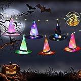 TYX-SS Decoraciones De Halloween, 6Pcs Sombrero De Bruja Luminoso, Decoraciones del Partido, Sombrero del Cordón Luminoso LED Utilizada para El Árbol De Navidad Jardín del Patio Al Aire Libre