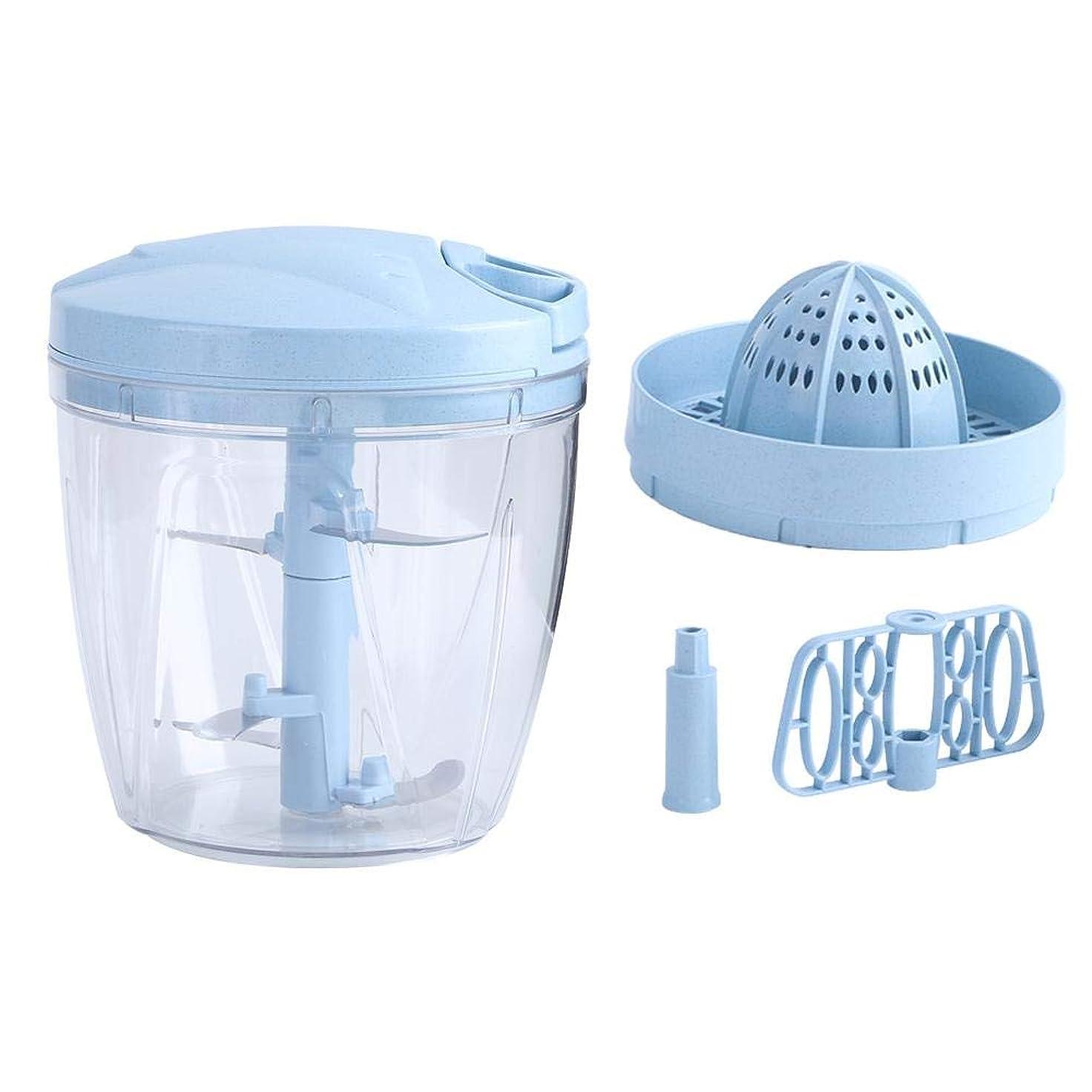 サーバントコンピューターを使用する自己手動ミートチョッパー、多機能ミートミンサーエッグビータープルタイプ手動ミルク泡立て器グラインダーミキサージューススクイーザー、キッチン用(青い)