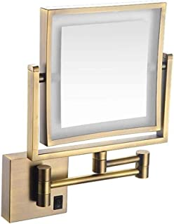 AINIYF Double Sided Swivel Vanity Makeup Mirror 8 Inch Extendable Illuminated Makeup Mirror Bathroom 5X Magnification LED Mirror (Color : Gold)