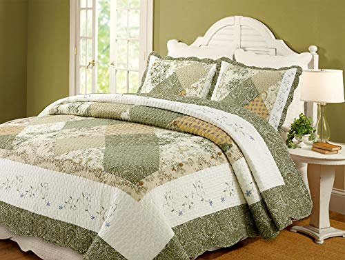 Cozy Line Home Fashions Floral Real Patchwork Green Beige Khaki Yellow Scalloped Edge Country 100% Cotton Quilt Bedding Set, Reversible Coverlet Bedspread for Women (Laura, Twin - 2 Piece)