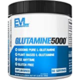 Evlution Nutrition L-Glutamine 5000, 5g Pure L Glutamine Per Serving, Post Workout, Nitrogen Transporter, Immune Support, Vegan, Gluten-Free, Unflavored Powder (60 Servings)