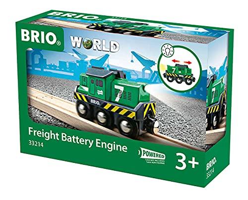 BRIO World 33214 Batterie-Frachtlok - Batterie-Lokomotive mit Licht-Effekt - Kleinkinderspielzeug empfohlen ab 3 Jahren