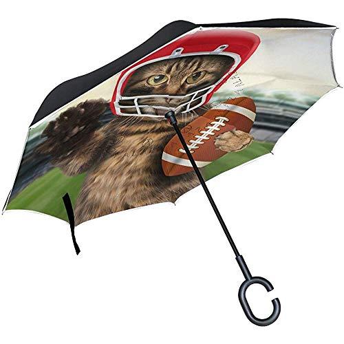 Space Cat Usa Fußball Polyester Auto Allwetter-Regenschirme