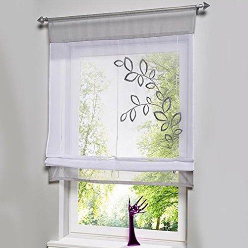 Souarts 1er Raffrollo Stickerei Blumen Voile Raffgardine Transparent Gardine Vorhang Schlaufenschal Deko für Wohnzimmer Schlafzimmer Studierzimmer (80 * 120cm, Grey)