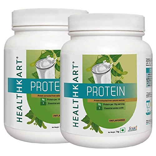 Healthkart Protein - 80% All Natural Plant & Milk Protein, Unflavoured-2.2 Lb/1Kg (Pack Of 2)