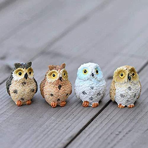 Candle Light 4 Pieces of Resin Mini Owls, Miniature Figures, Fairy Garden Accessories, Fairy Garden Supplies Garden Decoration