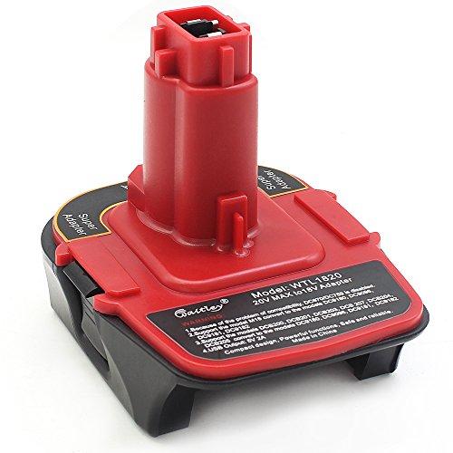Waitley Adaptador de batería para Dewalt DCA1820 Convertidor 18V-20V con función de banco de alimentación USB compatible con DC9096 DE9096
