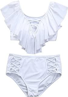 HYIRI 2019 New One Piece Bathing Suit,Women's Tummy Control Plus Size Swimwear Vintage Off Shoulder Flounce Swimsuits