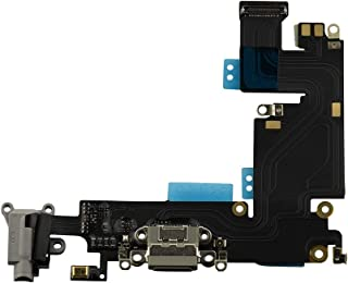 COHK USB Charging Dock Port Flex Cable with Microphone and Headphone Audio Jack Assembly Replacement for iPhone 6 Plus (Gray)
