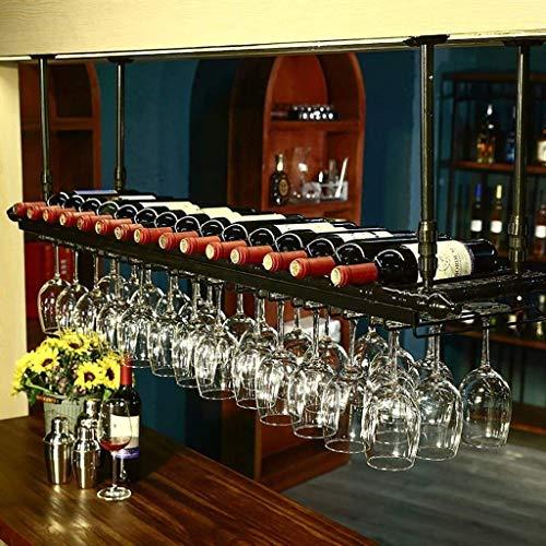Estante De Vidrio De Vino Colgante De Hierro De Estilo Europeo, Estante De Decoración De Techo De Estante De Vino, Utilizado En Bares, Restaurantes,Negro,100 * 30cm