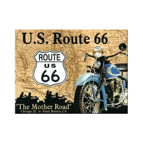Nostalgic-Art 14043 US Highways Route 66 Map, magneet, 8 x 6 cm