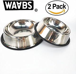 WAABS Pack 2 Gamelles pour Chien en Acier Inoxydable