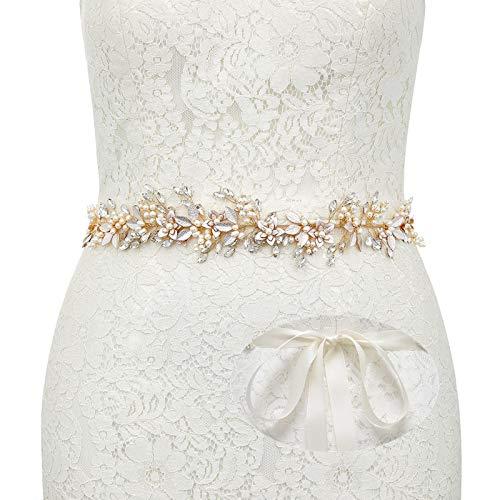SWEETV Gold Bridal Belt Rhinestone Flower Wedding Belt Evening Dress Sash Bridesmaid Gown Accessories (US SIZE 0-2)
