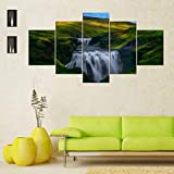 Gxucoa Cuadros Modernos Impresión De Imagen Artística Digitalizada, 5 Piezas Lienzo Decorativo para Tu Salón O Dormitorio Río Green Hills 5 Piezas