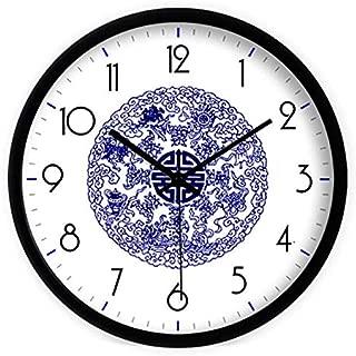 CYMTZ Blue Porcelain Art Simple Antique Clock Creative Silent Big Vintage Large Digital Watch Wall Clock Modern Design Clocks 12 Inch C