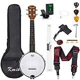 Banjo Ukulélé de concert taille 58,4 cm avec sac, accordeur, cordes, médiators, règle, clé à chevalet (marron)
