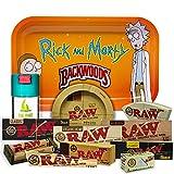 Bandeja para liar Rick y Morty 27,5cm x 17,5cm + Cenicero RAW + Bote Antiolor...