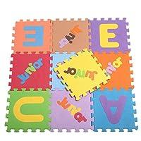 YiyiLai 可愛い ジョイントマット EVA 10枚組 パズルマット 滑り止め 防音 トレーニング 子供 知育 プレイマット 英字