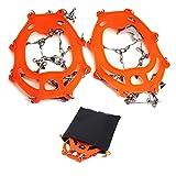 Fullbeing Ocho - Tacos de Acero con Pinzas para Hielo de 13 Dientes, Fundas para Zapatos de Nieve, crampones (Naranja)
